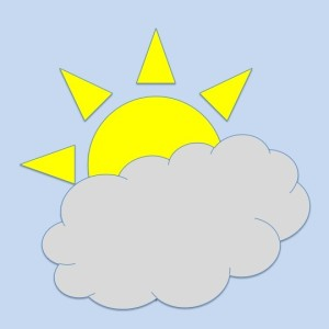 Clipart of a Sun partially covered with a cloud