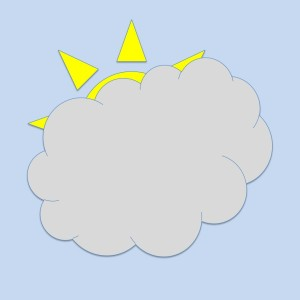 Clipart of a Sun nearly completely covered by a cloud