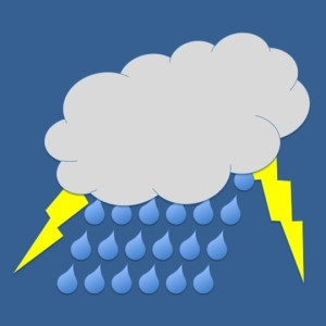 Clipart of a cloud with rain and lightning bolts