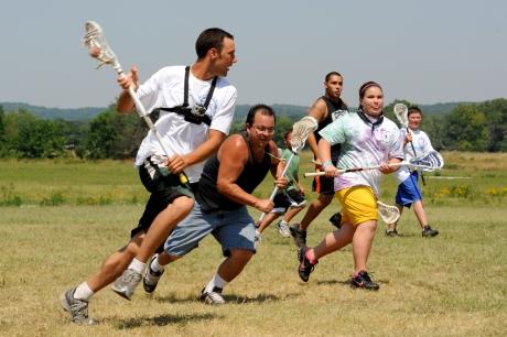 Miami and Seneca-Cayuga lacrosse players