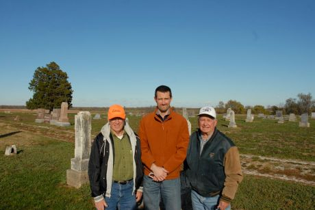 """From left to right: Clarence """"Gene"""" Hayward, George Ironstrack, and Lloyd Peckman at Jingo Cemetery, which sits just west of the first Myaamia Sugar Creek village."""
