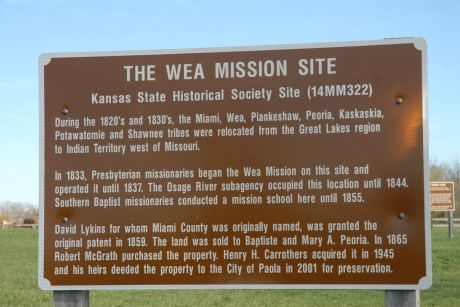 Sign that attests to the early presence of the Myaamia and our relatives in eastern Kansas.