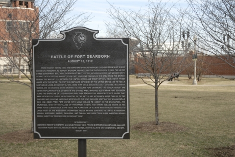 Battle of Fort Dearborn Park.  The text of this sign represents a positive step forward in recognizing the complexities of the War of 1812.  The rededication of the park that produced this sign is an example of the good that can come from more inclusive discussions and decision-making.