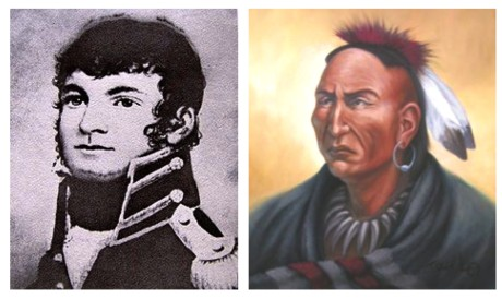 Portraits of Eepiihkaanita, also known as William Wells, on the left and Mihšihkinaahkwa, also known as Little Turtle, on the right.  The Portrait of Eepiihkaanita was probably taken between 1803-1810 and is in the collection of the Chicago Historical Society.  The portrait of Mihšihkinaahkwa was painted by Myaamia artist Julie Olds and is based on available information regarding his appearance.