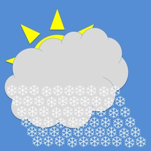 Clipart of a cloud nearly covering a Sun with snow falling