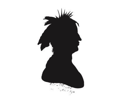 This is a silhouette that is most likely the Myaamia leader Mihšihkinaahkwa. There are two other commonly used images of this great leader, but both are copies of an original that burned in 1814 and are considered unreliable.
