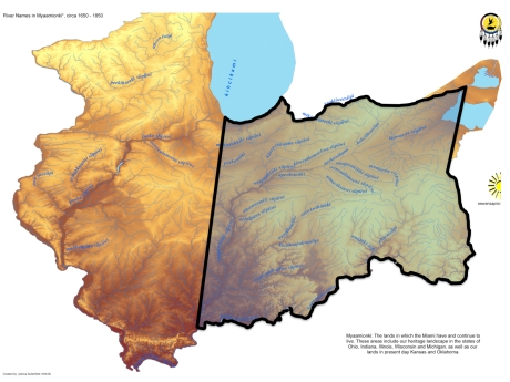Image #4 Map approximating the land claimed by Mihšihkinaahkwa on behalf of the Myaamia, Potawatomi of the St. Joseph's River, and other Wabash Tribes. Base map by Joshua Sutterfield. The western border, from the confluence of the Wabash and Ohio Rivers to Chicago, is an approximation. The Myaamia recognized that much of what we call Illinois today belonged to the Inoka (Illinois) and others, but Myaamia people still used parts of that land for hunting and lived there in 1600s. Later in the treaty period, the Miami Nation gained title to lands within what would become the state of Illinois.