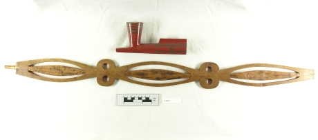 ahpwaahkana neehi ahpwaakanti (pipe and pipe stem) - This pipe was used at the Treaty of Greenville. It is likely that it is the pipe that General Wayne used to open the treaty council. Image courtesy of the Ohio History Connection H39471.