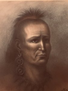 2019 Portrait Mihšihkinaahkwa by Julie Olds based on historical texts that describe his appearance as well as knowledge of attire common in the 1790s.