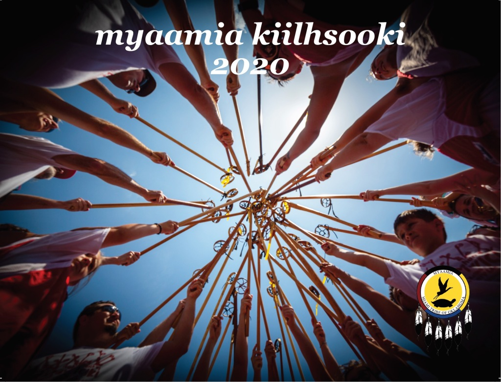 The cover of the 2020 Myaamia Kiilhsooki 'Miami Lunar Calendar' featuring community members with their traditional lacrosse sticks.