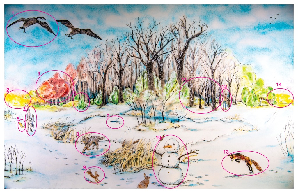 Winter scene with key features numbered to match the Winter Poster terms table.