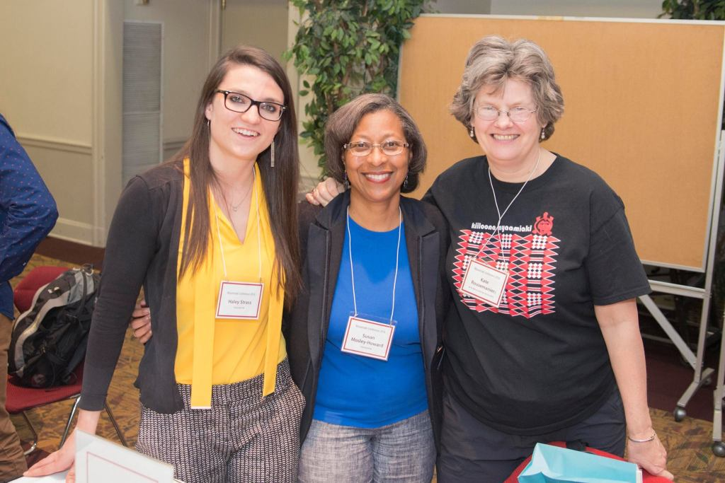Haley Shea, Susan Mosley-Howard, and Kate Rousmaniere (left to right) at the 2016 Myaamiaki Conference.