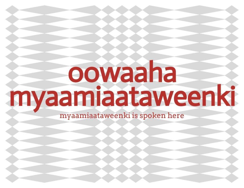 oowaaha myaamiaataweenki text over a grayscale, diamond pattern background.