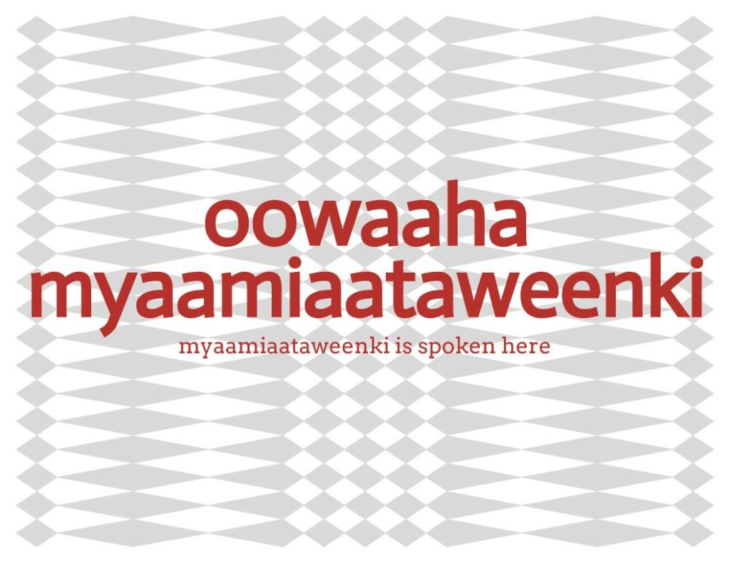 oowaaha myaamiaataweenki text over a grayscale, diamond pattern background.