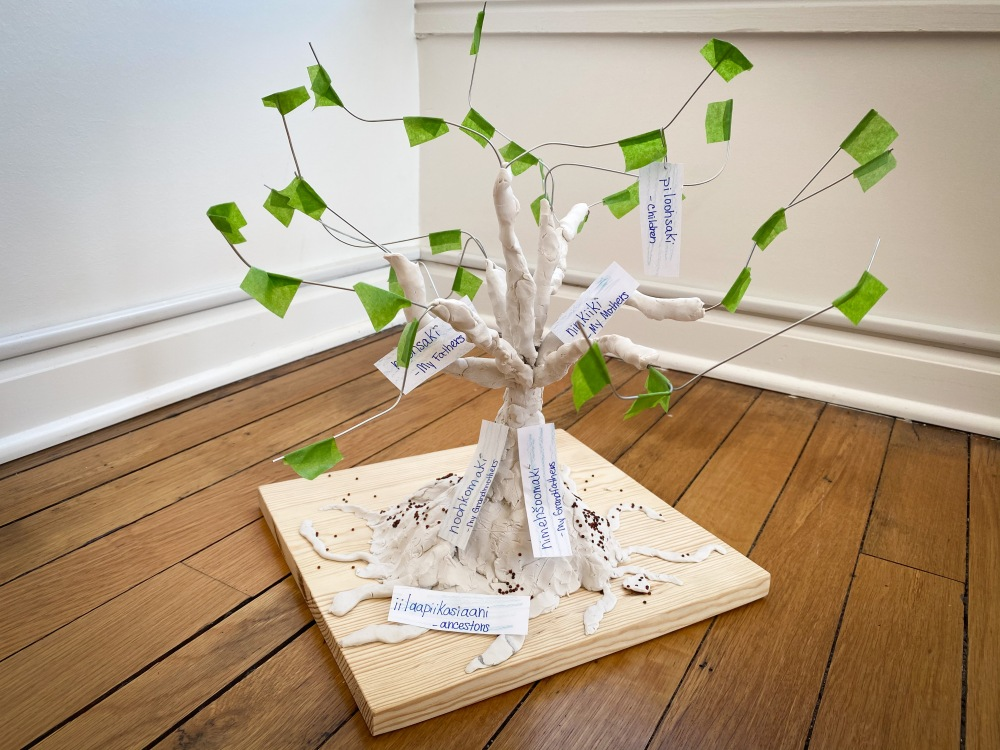 A wire, salt dough, and masking tape tree