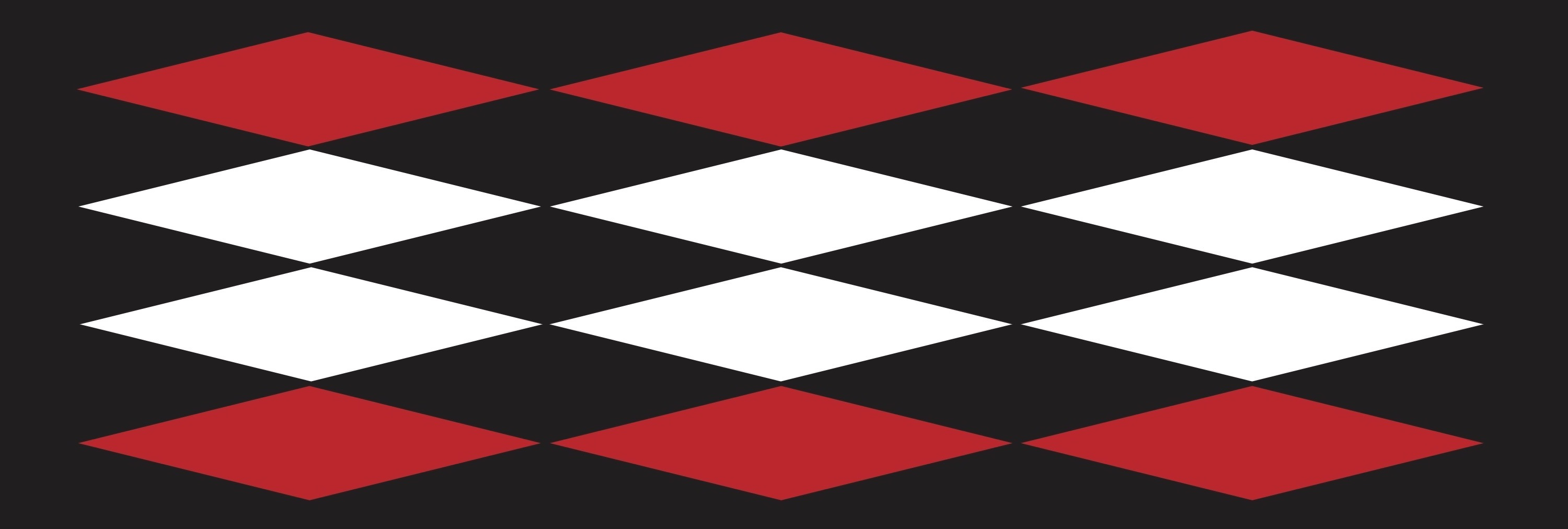 A black background with a series of red and white diamonds creating a