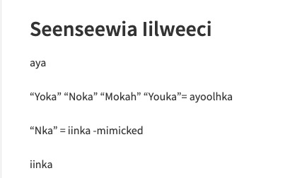 Part of the list of Myaamia words Seenseewia had used as of December 2017