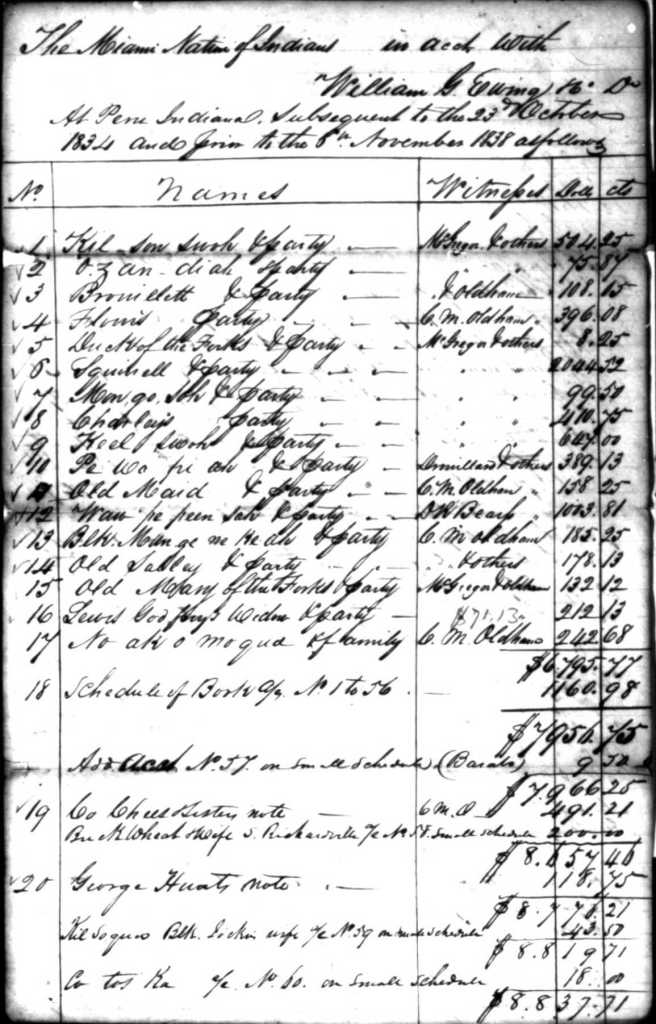 Page from a trader's log showing Miami debts