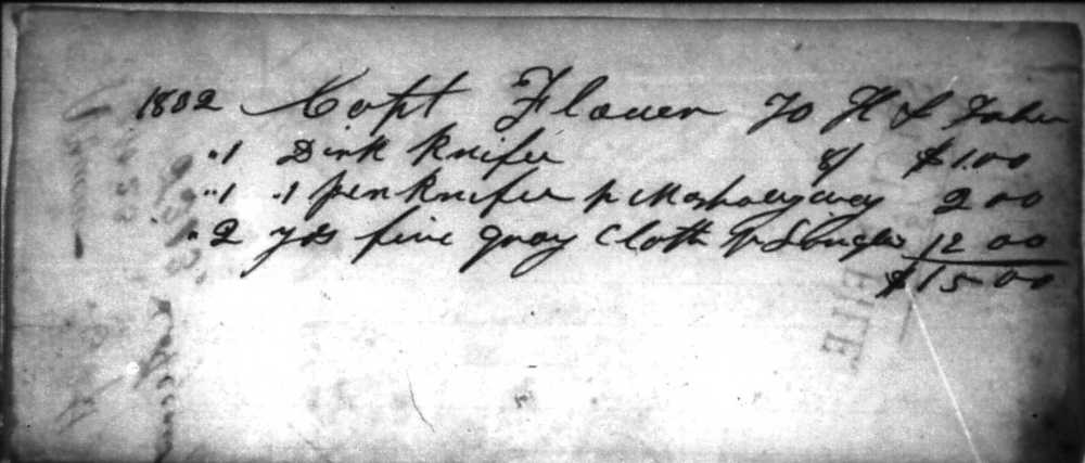 Trader's log showing Captain Flour's purchases