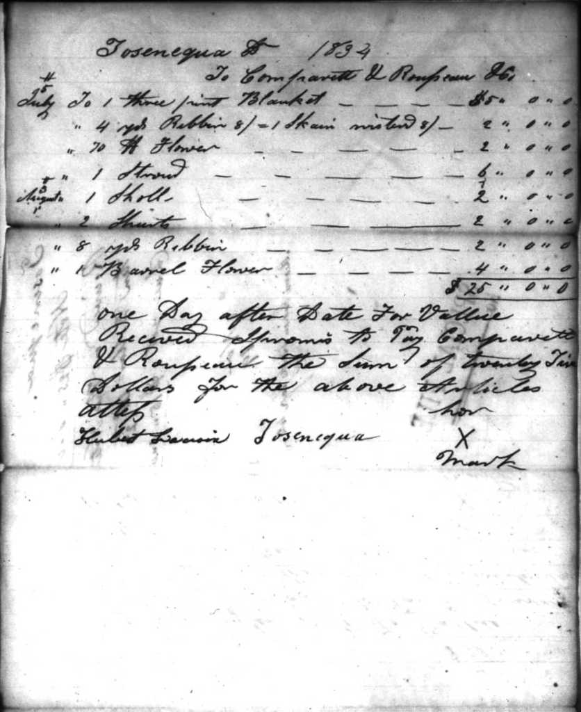 Trader's log showing Tosenequa's purchases