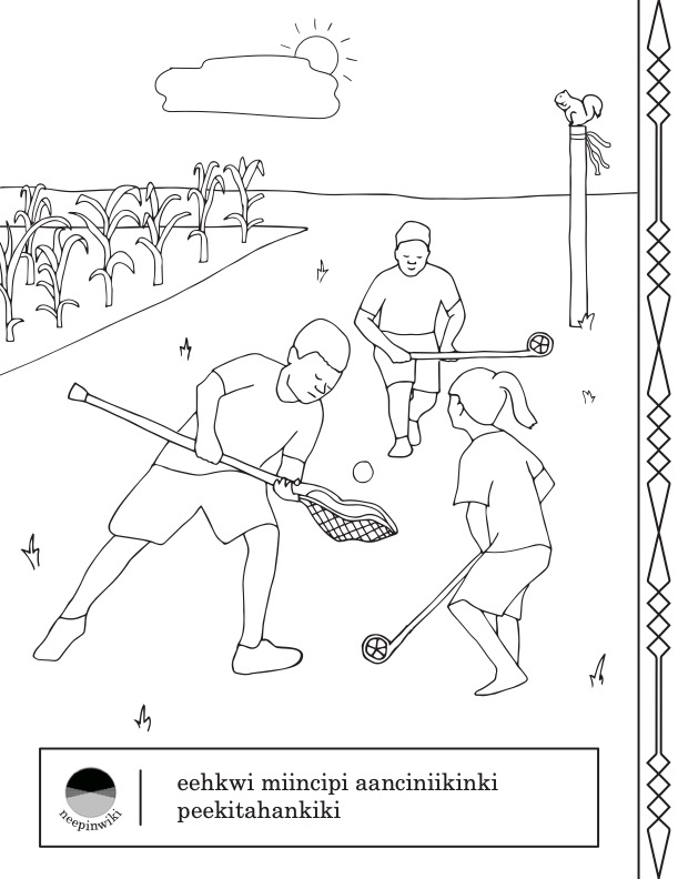 One of the neepinwiki 'summer' pages depicting children playing peekitahaminki 'lacrosse'
