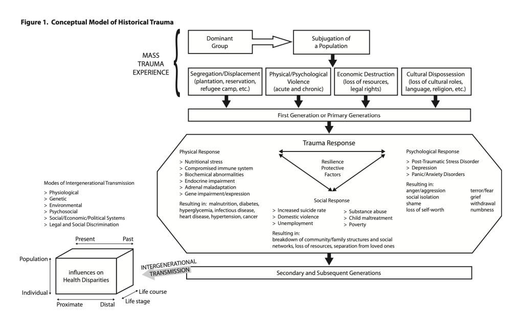 Flow chart outlining the concept of Historical Trauma