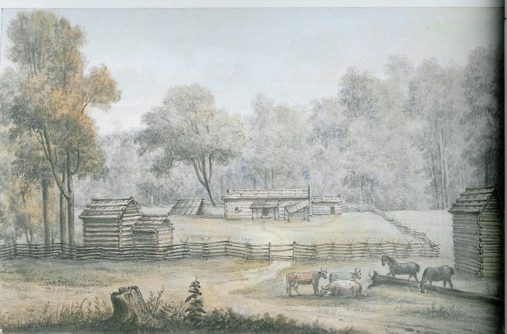 A painting of Deaf Man's Village featuring the home and farm buildings on the land