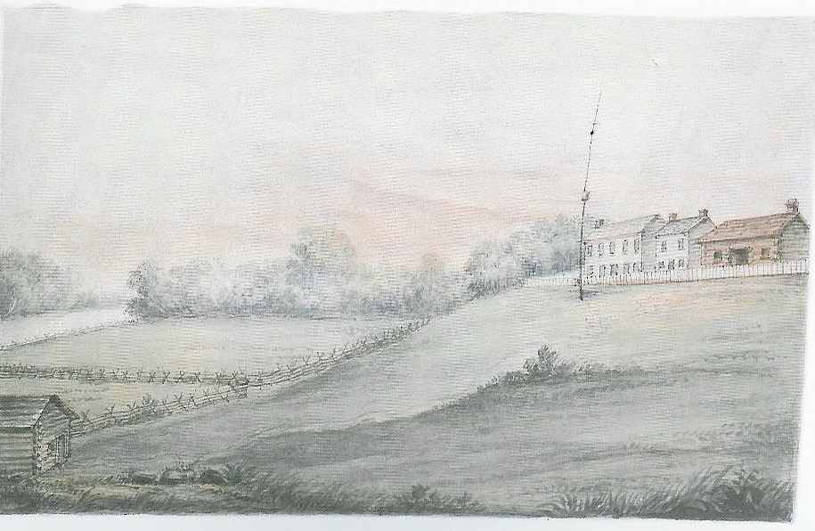 A painting of Palaanswa's residence featuring the house and farm land