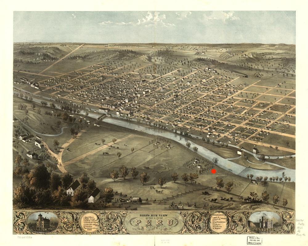 Bird's Eye View of Peru, Indiana circa 1868