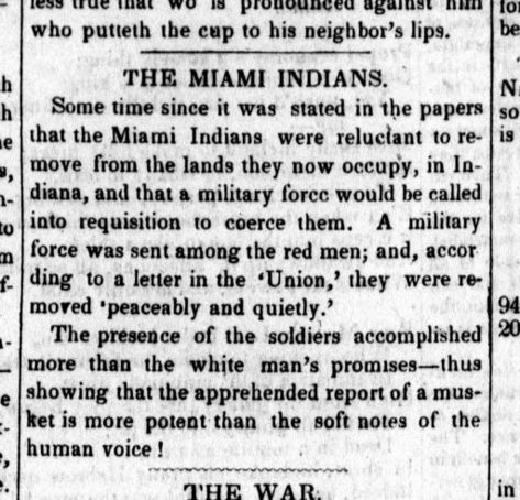 Clipping from The Columbian Fountain newspaper in Washington, DC on October 21, 1846