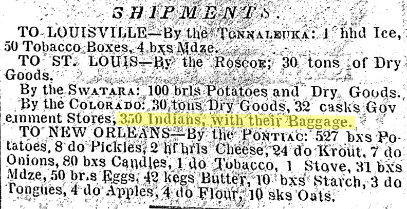 Clipping from the Shipments section of the Cincinnati Gazette on October 13, 1846