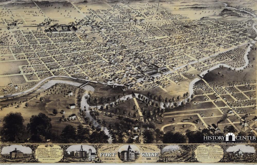 Birdseye map of Fort Wayne, Indiana from 1868