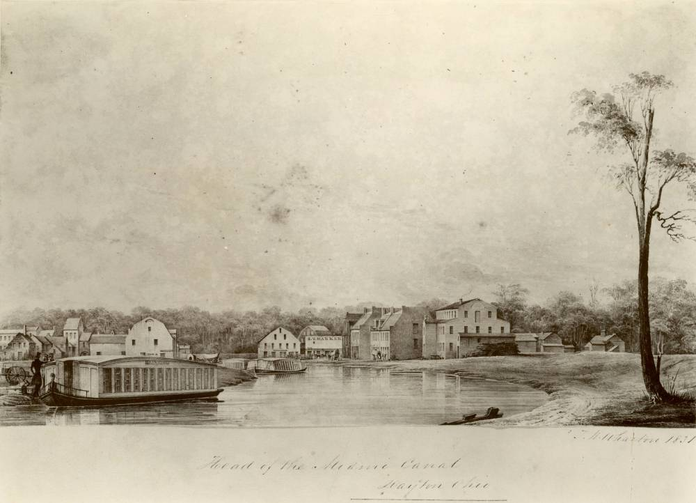 Drawing by Thomas F. Wharton of a canal boat in the Miami-Erie Canal in 1831