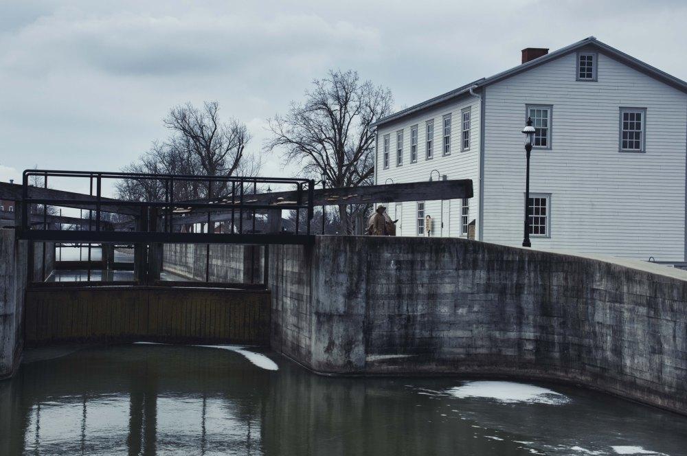 A contemporary photo of the Miami-Erie Canal lock at Piqua, Ohio