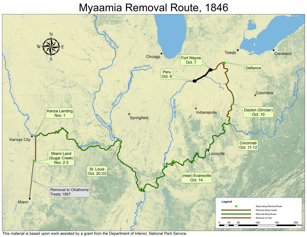 A map highlighting the Myaamia Removal Route from Indiana into Ohio and out to Kansas and Oklahoma that is annotated to mark the progress as of October 7, 1846