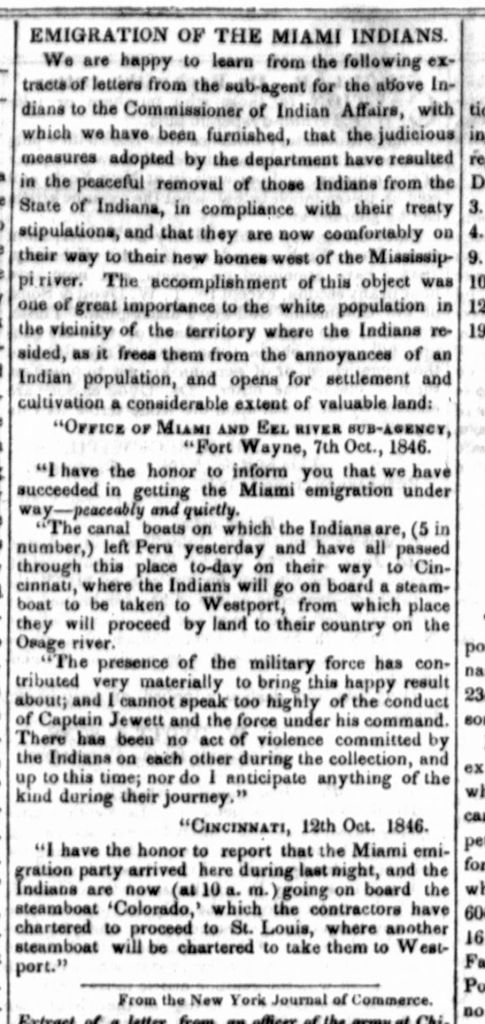 Clipping from the Washington, D.C. Daily Union in 1846